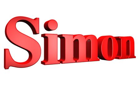 3D Simon text on white background