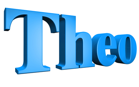 3D Theo text on white background