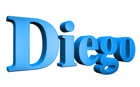 3D Diego text on white background