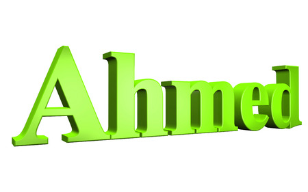 3D Ahmed text on white background
