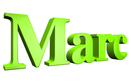 3D Marc text on white background