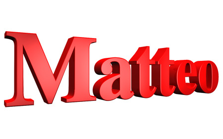 3D Matteo text on white background