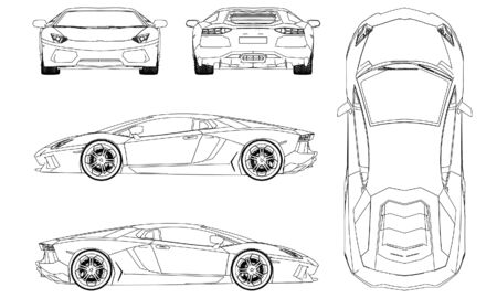 Illustration pour Sport car in outline. Sport vehicle template vector isolated on white. - image libre de droit