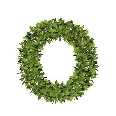 Foto de Leaf style letter o. 3D render of grass font isolated on white background - Imagen libre de derechos