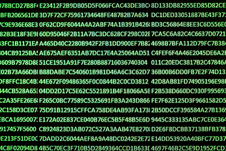 A set of random hexadecimal numbers captured from an LCD screen created with a spreadsheet program with glowing green letters on a black background