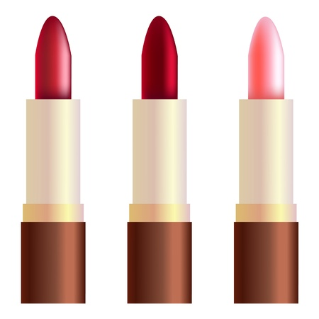 Rouge, rose, and burgundy lipsticks. Gradient mesh.