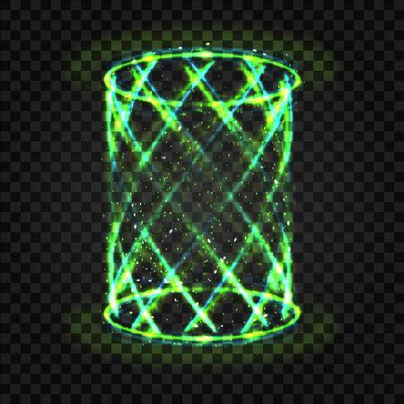 Futuristic green swirl neon light teleport tunnel