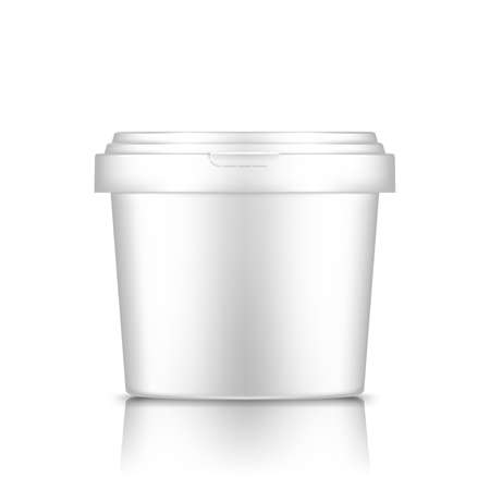 Illustration for White bucket with cap mockup isolated from background: ice cream, yoghurt, mayonnaise, paint, or putty container. Plastic package design. Blank food or decor product template. 3d vector illustration - Royalty Free Image