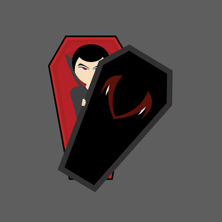 Illustration pour the vampire is in a coffin with red eyes and dressed in a black robe whose hands hold the lid of the coffin, vampire illustration, flat design - image libre de droit