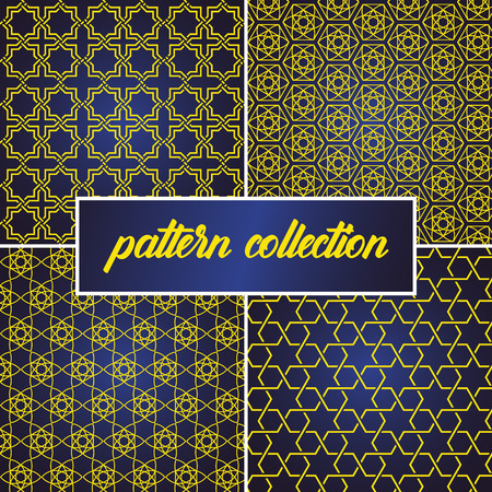 Illustration pour set or collection of seamless and abstract pattern background in arabic style, can use for ramadan kareem and eid mubarak topic. gold pattern with blue gradient - image libre de droit