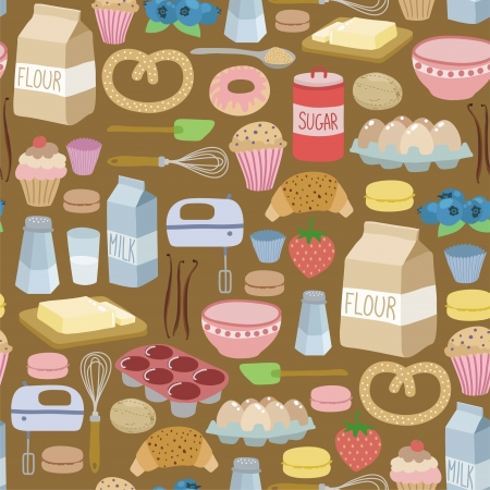 seamless pattern with cooking ingredients