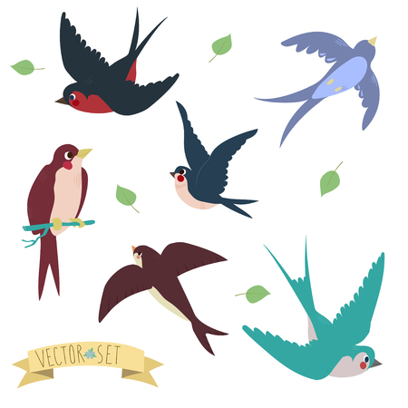 Ilustración de Swallows on white background Three are two sitting swallows and three flying swallows in cartoon style - Imagen libre de derechos