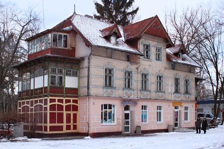 SVETLOGORSK, KALININGRAD REGION, RUSSIA - FEBRUARY 13, 2011: Old former german building in famous russian sea resort Svetlogorsk (Rauschen) at winter. Kaliningrad region, Russia.