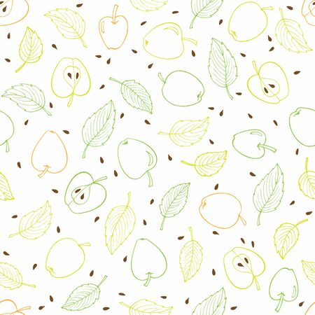 Photo pour Apple seamless pattern. Pastel orange, yellow, green fruit and leaves digital paper. Linear hand drawn sketch. Round apples, apple halves, leaves, seeds. Vector wallpaper, packaging, wrapping. - image libre de droit