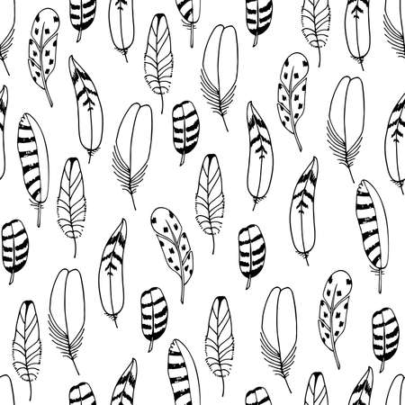 Illustration pour Vector Feathers Seamless Pattern. Hand drawn illustration. Boho style. Black sketch isolated on white background. For print , textile, fabric, wrapping paper, wallpaper. - image libre de droit
