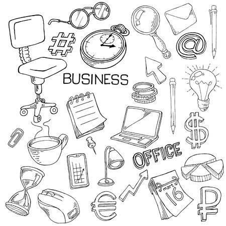 Illustration pour Stationery, office attributes doodle on white background - image libre de droit