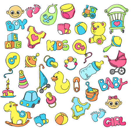 Illustration pour Vector hand drawn set of newborn baby care cartoon doodle objects and items. - image libre de droit