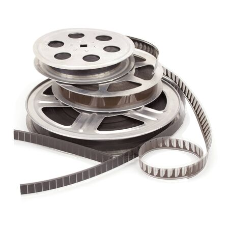 Old film reel with strip isolated on a white background.