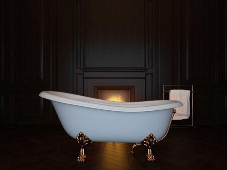 Photo pour Dark luxury bathroom interior with bathtub and fireplace. 3d image - image libre de droit