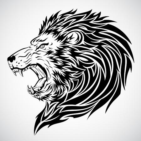 Illustration pour Lion Roar Tattoo - image libre de droit
