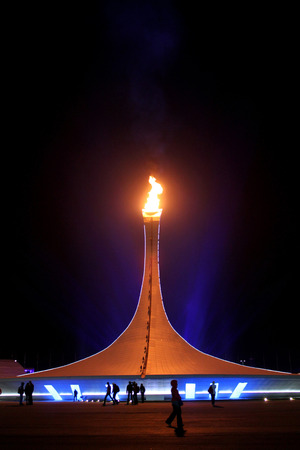 SOCHI, RUSSIA - FEBRUARY 9, 2014: Olympic flame is in Olympic Park of XXII Olympic Winter Games on February 9, 2014 in Sochi.