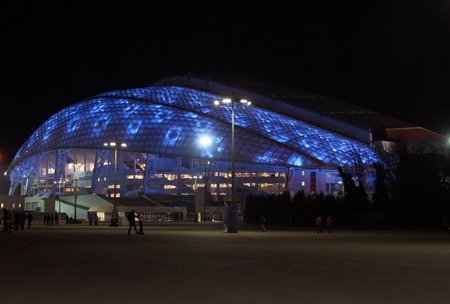 SOCHI, RUSSIA - FEBRUARY 10, 2014: Fisht Olympic Stadium in the Olympic Park of the XXII Olympic Winter Games on February 10, 2014 in Sochi.