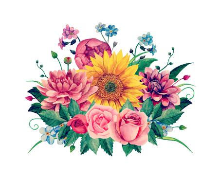 Ilustración de Watercolor floral bouquet clip-art,  Hand painted flowers illustration. - Imagen libre de derechos