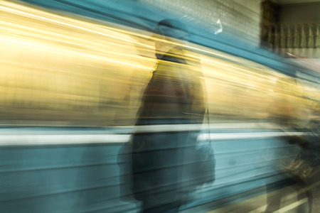 Photo for Moving subway cars as a background blur - Royalty Free Image