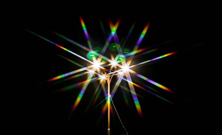 Photo pour Rainbow bokeh from the light of a street lamp as an abstract background - image libre de droit