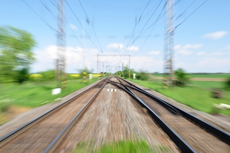 Two long railway tracks  Blurred with zoom