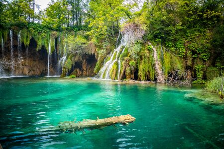 Photo pour Amazing waterfalls with crystal clear water in the forest in Plitvice lakes National Park, Croatia. Nature landscape - image libre de droit