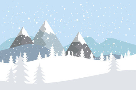 Illustration pour Flat vector landscape with silhouettes of trees, hills and mountains with falling snow. - image libre de droit