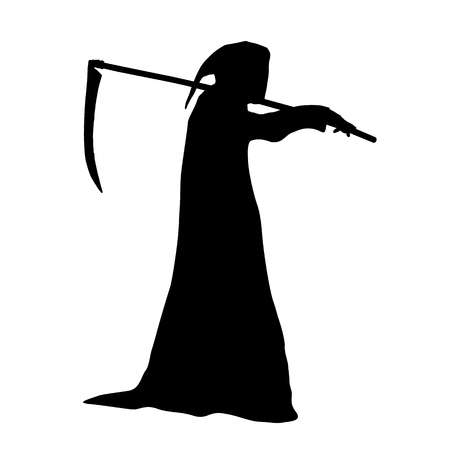 Illustration pour Vector silhouette of death in a hood holding a scythe over shoulder. - image libre de droit