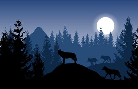 Ilustración de Blue vector landscape with a pack of wolves in dense forest with glowing moon. - Imagen libre de derechos