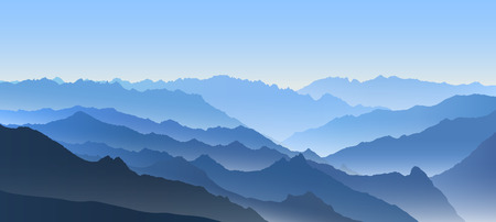 Illustration pour Beautiful blue vector landscape with a curvy valley in Himalaya mountains. - image libre de droit