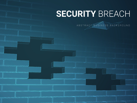 Illustration for Abstract modern business background vector depicting security breach in shape of a brick wall with holes on blue background. - Royalty Free Image