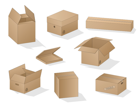 Illustration pour Vector collection of beautiful shaded realistic brown carton paper boxes with outlines on white background. - image libre de droit