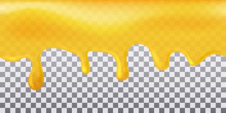 Illustration pour Yellow seamless flowing honey on transparent background. - image libre de droit