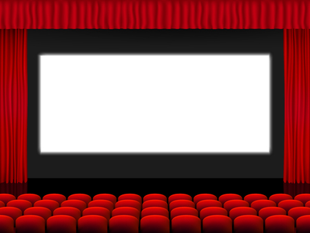 Illustration for Beautiful red cinema hall with seats facing a white screen between red folded curtain drapes on a black stage vector. - Royalty Free Image