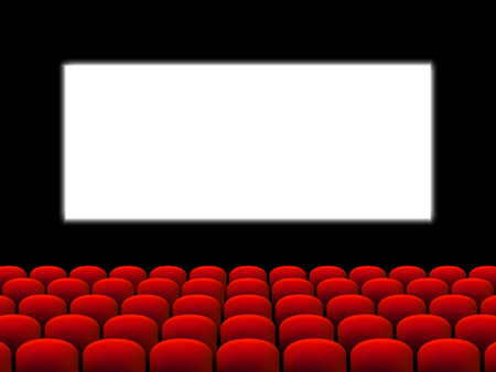 Illustration for Beautiful red cinema hall with seats facing a white screen on a black stage vector. - Royalty Free Image