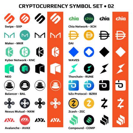 Ilustración de Set 02 of isolated cryptocurrency symbols, digital coins icons in monochrome and color. Vector illustration. - Imagen libre de derechos