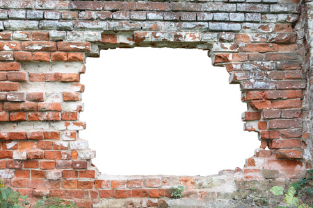 Hole in old brick wall.