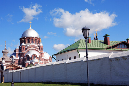 Nice old Russian Christian Cathedral against blue sky, Sviyazhsk island,Tatarstan