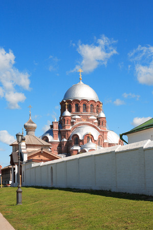 Nice old Russian Christian Cathedral against blue sky, Sviyazhsk island,Russia