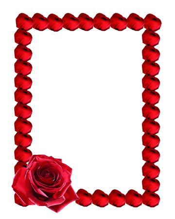 Nice picture frame made from red rose petals on white backgroundの写真素材