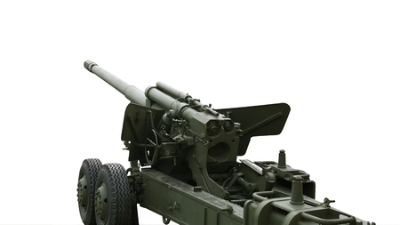 Photo pour World War II Soviet cannon isolated on white background. - image libre de droit