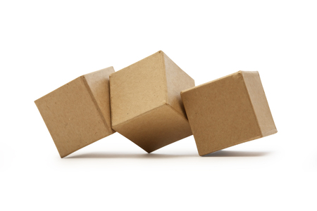 Photo for Set of brown cardboard cubes isolated on white background - Royalty Free Image