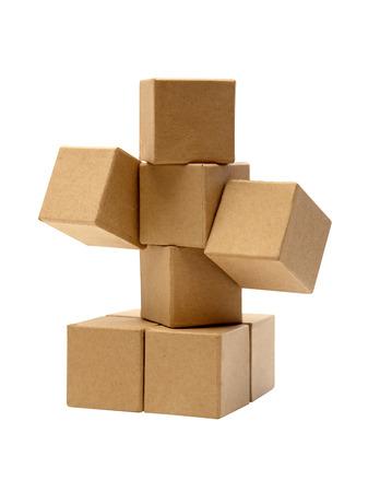 Foto für Set of brown cardboard cubes isolated on white background - Lizenzfreies Bild