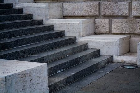 Photo for Gray and monophonic concrete steps. Stone walls. Old architecture. Background - Royalty Free Image