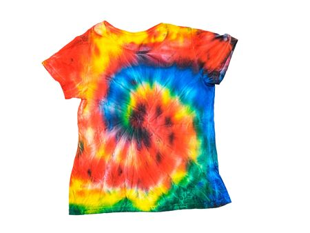 Photo for T-shirt in a bright tie dye style isolated on a white background. White clothes painted by hand. Flat lay. Place for text. Pastel color. - Royalty Free Image